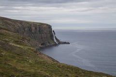 Wasserfall, der zum Meer in Nord-Island geht Lizenzfreies Stockfoto