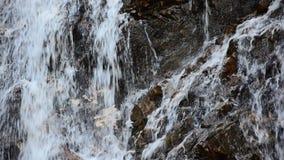 Wasserfall gegen einen Steinwandhintergrund Stockbild