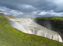 Wasserfall Gullfoss mit Regenbogen Lizenzfreie Stockfotos