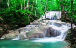 Wasserfall herein tief der Wald an Nationalpark Erawan Stockbilder