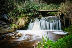 Wasserfall im Holz Stockfotos