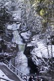 Wasserfall im Holz stockbilder