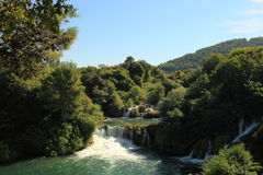 Wasserfall im Krka Park Lizenzfreie Stockfotos