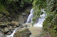 Wasserfall im tiefen Wald auf dem Berg Stockfoto