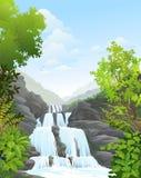 Wasserfall im tropischen Wald lizenzfreie abbildung