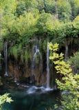 Wasserfall im wilden Wald Stockfotos