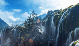 Wasserfall, Jiuzhaigou-Naturschutzgebiet-Winter stockbild