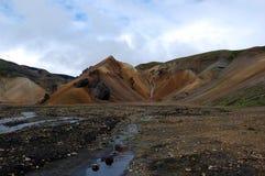 Wasserfall in Landmannalaugar, Island. Lizenzfreie Stockbilder
