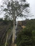 Wasserfall mit Berg stockfotografie