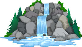 Wasserfall mit Landschaftsansichthintergrund Lizenzfreie Stockfotografie