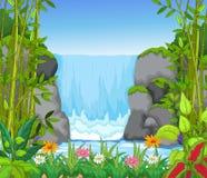 Wasserfall mit Landschaftsansichthintergrund