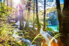 Wasserfall mit Sonnenlichtstrahlen in Plitvice Stockbilder