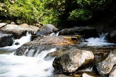 Wasserfall mit tiefgrünem Waldhintergrund Lizenzfreie Stockbilder