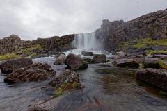 Wasserfall in Nationalpark Thingvellir in Island Lizenzfreies Stockbild