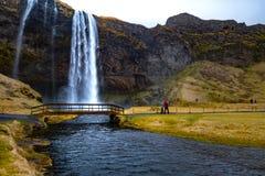 Wasserfall ` Skogafoss-` in Süd-Island Lizenzfreies Stockfoto