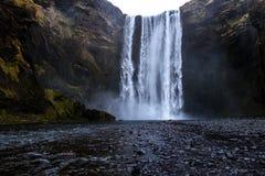 Wasserfall ` Skogafoss-` in Süd-Island Stockfotografie