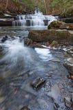 Wasserfall tief im Wald während des Winters Stockfoto