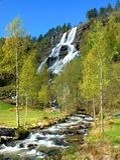 Wasserfall Tvinde in Norwegen Lizenzfreie Stockfotos