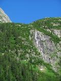 Wasserfall umgeben durch grünen Wald stockfoto