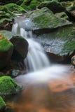 Wasserfall und Felsen bedeckt mit Moos Lizenzfreie Stockfotos