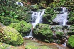 Wasserfall und Felsen bedeckt mit Moos Lizenzfreie Stockfotografie