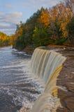 Wasserfall und Fluss im Herbst, vertikal Stockfotografie
