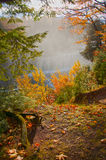 Wasserfall und Fluss im Herbst, vertikal Stockbilder