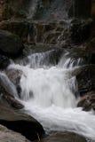 Wasserfall und Fluss im Wald Stockfotografie