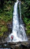 Wasserfall und Mann in der Perspektive Stockbild