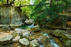 Wasserfall und See in der Schlucht lizenzfreies stockfoto