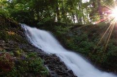 Wasserfall und Sunbeams Stockbild