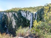 Wasserfall von Itaimbezinho-Schlucht bei Aparados DA Serra National Park - Cambara tun Sul, Rio Grande tun Sul, Brasilien Lizenzfreies Stockbild