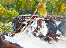 Wasserfallaquarell gemalt Stockfotografie
