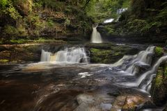 Wasserfallland Südwales Großbritannien Stockbild