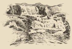 Wasserfalllandschaftsweinlese-Stichillustration Stockfoto