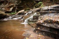 Wasserfallnahaufnahme bei Ricketts Glen State Park im Herbst Stockbild