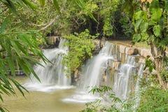 Wasserfallnatur und um grünen Baum lizenzfreies stockfoto