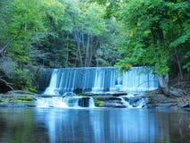 Wasserfallreflexion im Wasser mit langer Belichtung lizenzfreie stockfotografie