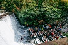 Wasserfallrestaurant-Landhaus escudero, San Pablo, Philippinen Stockfotografie
