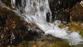 Wasserfallstrom des schnellen Wassers über felsigen Steinen stock video