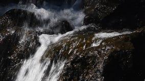 Wasserfallstrom des schnellen Wassers über felsigen Steinen stock video footage