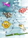 Wasserfarben Fischaquarium lizenzfreie stockfotos