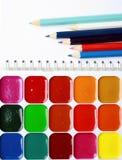 Wasserfarbenpalette Stockfotografie