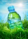 Wasserflasche auf dem Gras Stockbild