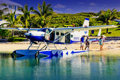 Wasserflugzeug an Abakus-Gasthaus, Elbo Cay Abaco, Bahamas Stockbilder