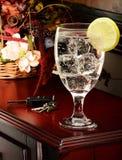 Wasserglas und -zitrone stockfoto