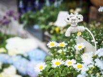 Wasserhahn Dekoration Sommers weiße Blumen des Gartens in der im Freien Stockfotografie
