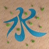 Wasserhieroglyphe auf der Wiedergabe der Wüste 3d Stockbilder