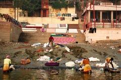 Wasserij bij de rivier van Ganges Royalty-vrije Stock Foto