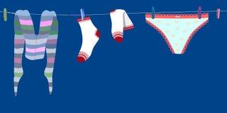 Wasserij het drogen op een vrouwelijk ondergoed vectoreps 10 van de waslijn vector illustratie